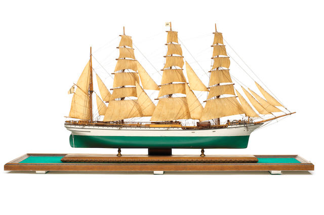 A cased model of the Four masted Barque Hertzogin Cecilie 1902 39x11x22ins. (99x28x56cm)