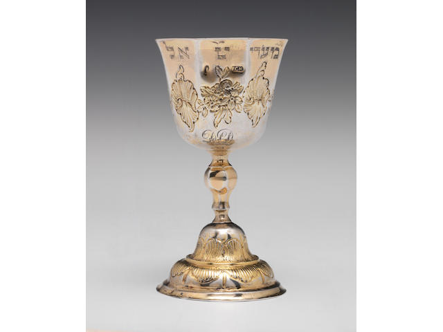 A German octagonal silver-gilt goblet with inscription in Hebrew, Augsburg, c.1740