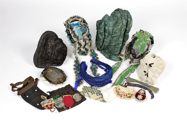 A group of late 18th and 19th century hats and purses