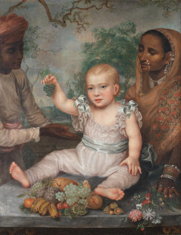 The infant Nadir al-Mulk Muhammad al-Daula Baxter Bahadur Daulat Rajah, seated on a ledge with a nurse and a male attendant British School, circa 1792