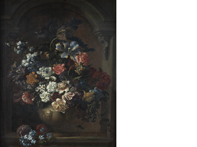 Studio of Jean-Baptiste Monnoyer (Lille 1636-1699 London) Peonies, tulips, narcissi, honeysuckle and other flowers in a classical urn,