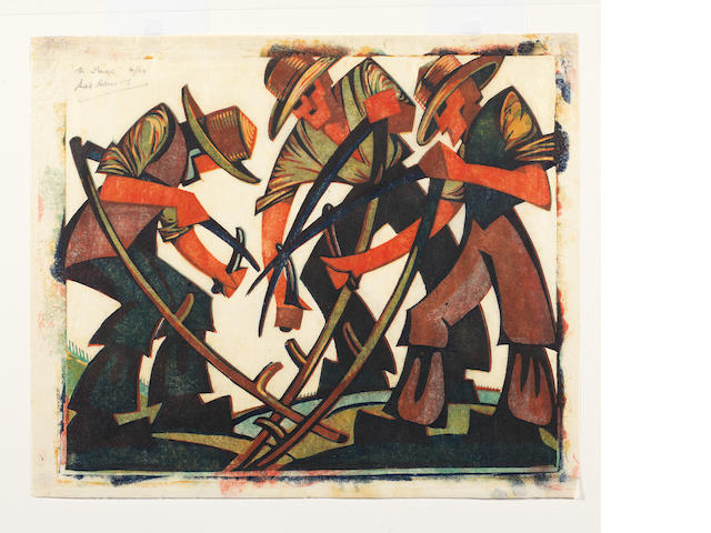 Sybil Andrews, CPE (British/Canadian, 1898-1993) Mowers  Linocut printed in raw sienna, red viridian and Chinese blue, 1937, on buff oriental laid tissue, signed, titled and numbered 31/60 in pencil, with margins, 292 x 352mm (11 1/2 x 14in)(B)