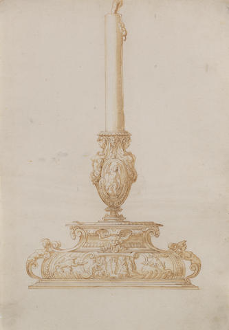 Jacopo Strada (Mantua 1510-1588 Vienna), and Studio Design for a Candlestand with Zeus, an Eagle and a Thunderbolt