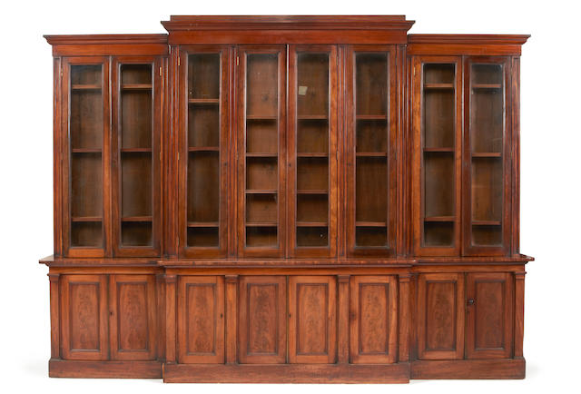 A large early Victorian mahogany breakfront library bookcase