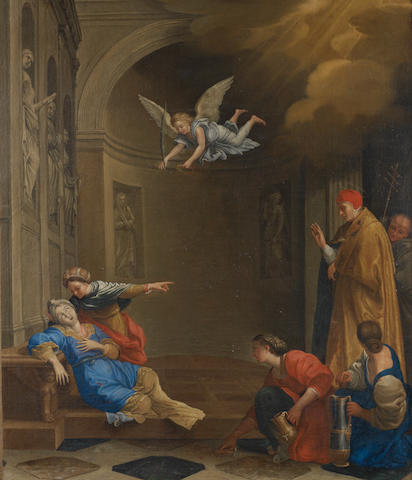 French School, circa 1700, after Domenico Zampieri, called il Domenichino The Martyrdom of Saint Cecilia unframed