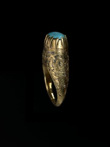 A Seljuk nielloed gold Ring with turquoise seal Persia, 12th-13th Century