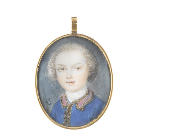 Peter Paul Lens (British, 1714-1750) A Young Gentleman, wearing blue coat, with red collar and gold embroidered trim, white stock and cravat, his hair powdered