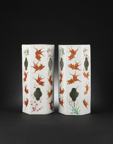 A pair of famille rose hexagonal hat stands Jiaqing six-character marks