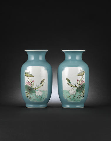 A pair of clair-de-lune ground, famille rose vases Jiaqing six-character marks