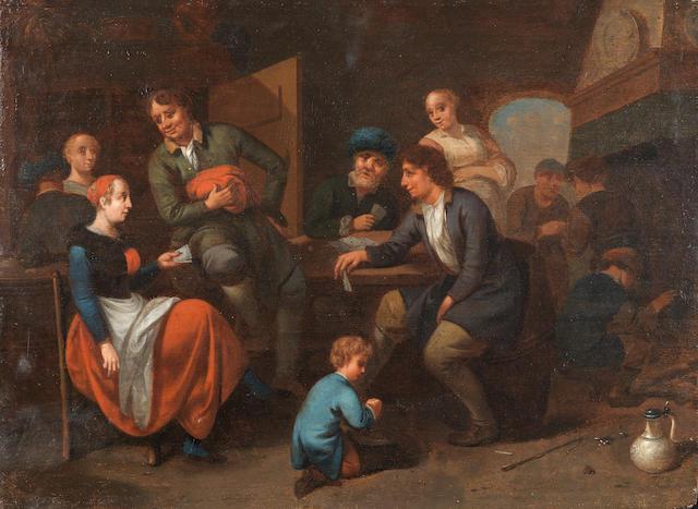 Bernardus van Schendel (Weesp 1649-1709 Haarlem) An interior scene with figures conversing