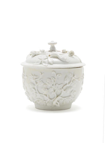 An early Meissen porcelain sugar bowl and a cover, circa 1715
