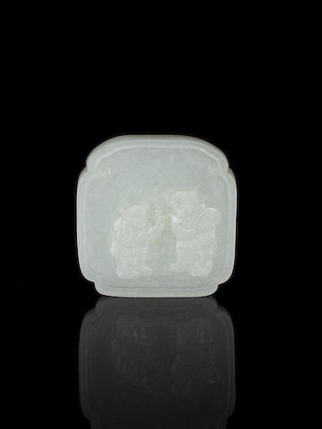 A fine white jade lobed square small plaque Probably 19th century