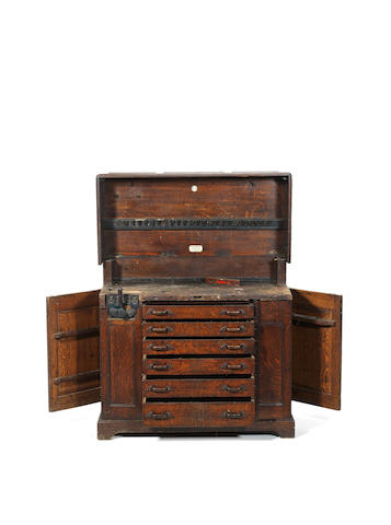 A Melhuish & Sons Combined Wood-Carving And Joiners' Work Bench And Tool Cabinet,