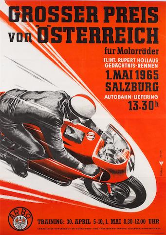 A 1965 'Grosser Preis von Osterreich' motorcycle race poster,