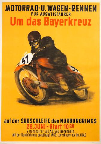 A rare 1953 'Motorrad-U. Wagen-Rennen Um das Bayerkreuz' motorcyle race poster,