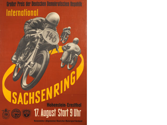 A 1958 ADMV/FIM 'Grosser Preis International Sachsenring' motorcycle race poster,