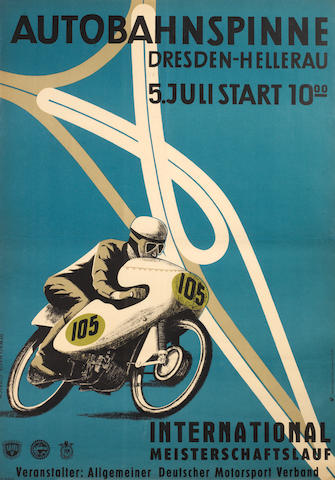 A 1959 ADMV/FIM 'Autobahnspinne' International motorcycle race poster,