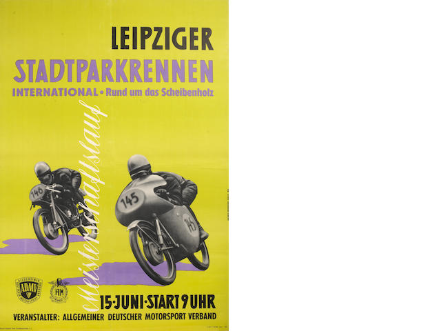 A 1958 ADMV/FIM 'Leipziger Stadparkrennen International' motorcycle race poster,