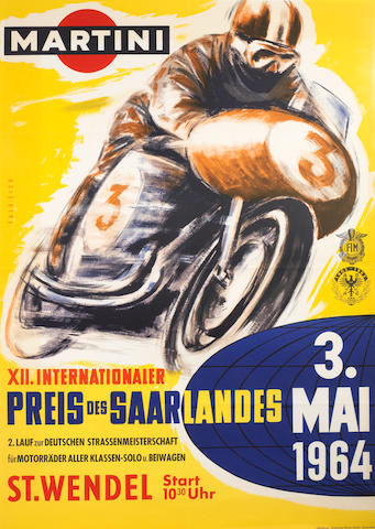 A 1964 FIM/ADAC 'XII Internationaler Preis des Saarlandes' motorcycle race poster,