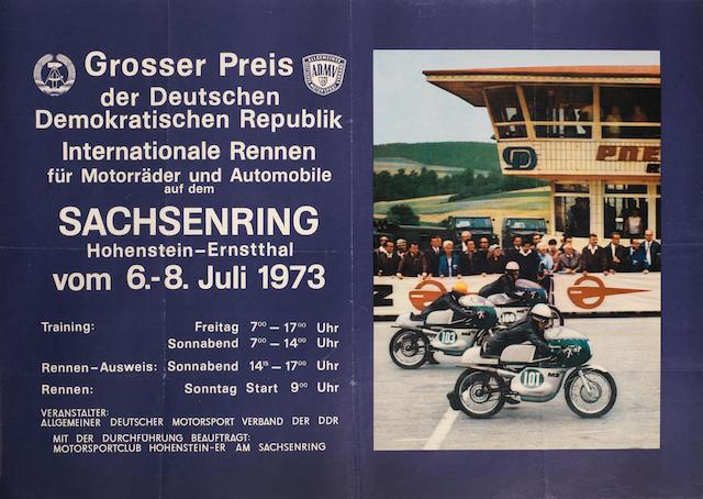 A 1973 ADMV 'Grosser Preis Internationale Rennen Sachsenring' motorcycle race poster,