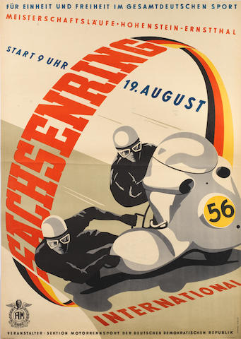 A 1956 'Sachsenring International' motorcycle race poster,