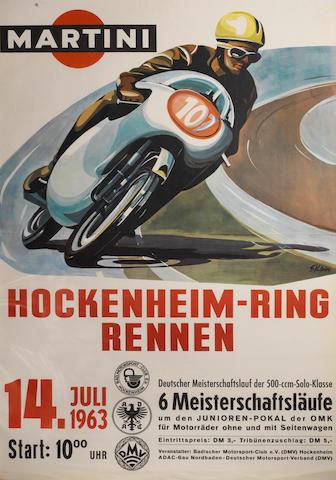 A 1963 ADAC/DMV 'Hockenheim-Ring Rennen' motorcycle race poster,