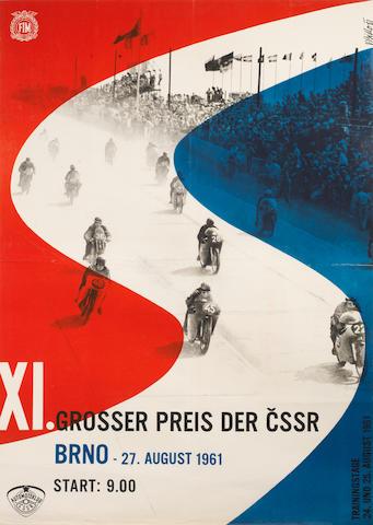 A 1961 'Grosser Preis der CSSR' motorcycle race poster,