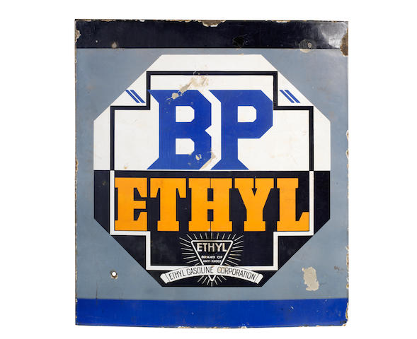 "A ""BP"" Ethyl enamel sign,"