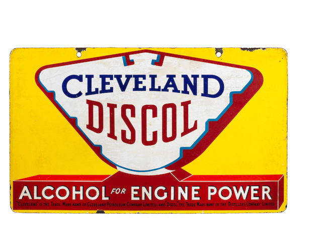 A Cleveland Discol 'Alcohol for Engine Power' double-sided enamel sign,