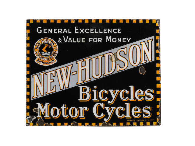 A New Hudson Bicycles Motor Cycles double-sided enamel sign,