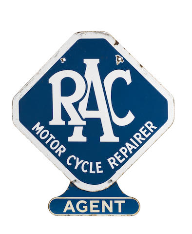 An RAC Motor Cycle Repairer Agent double-sided enamel sign,