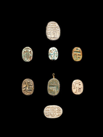 Six Egyptian steatite royal scarabs and two other scarabs, 8