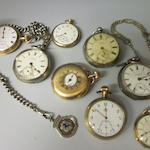 A late Victorian 18ct gold open faced key wound pocket watch,  (Qty)