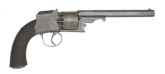 A Very Rare 54-Bore Pennell Patent 'Hammerless' Six-Shot Self-Cocking Percussion Belt Revolver
