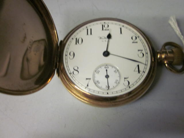 A 9ct gold hunter Waltham pocket watch,