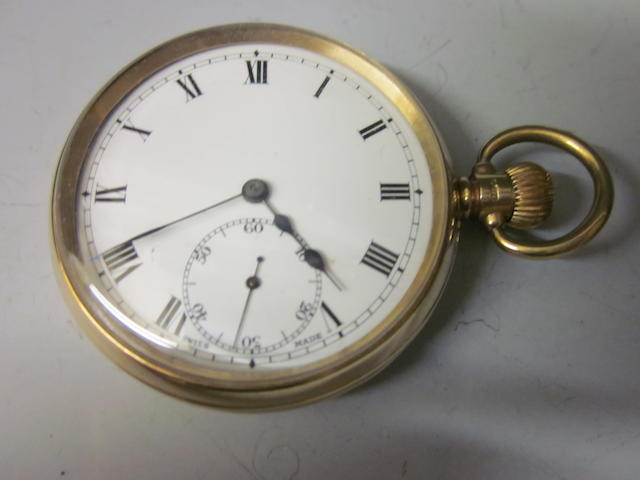 A 9ct gold open faced pocket watch,