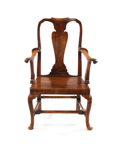 A George I walnut open armchair