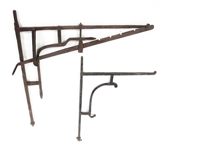 A 19th century iron chimney crane, with two movements
