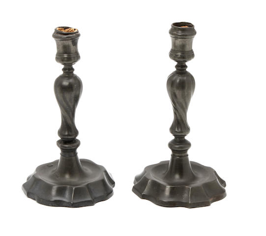 A pair of 18th century European candlesticks Possibly Belgium