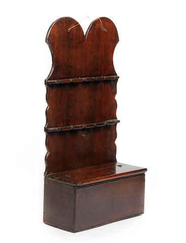 A George III oak combined spoon rack and cutlery box