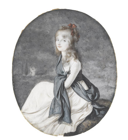 Peter Eduard Stroely (German, 1768-circa 1826) A Young Girl, possibly Princess Alexandrine of Prussia (1803-1892), seated in a landscape, wearing white dress with wide brown waist sash, an Order on a black and white striped ribbon at her chest, a blue-grey tasselled scarf wrapped loosely about her body and draped across her forearm and a red ribbon bow in her curled hair