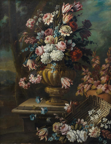 Giacomo Nani (Port'Ercole 1698-1770 Naples) Tulips, roses, carnations and other flowers in a bronze urn