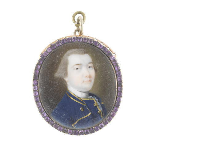 John Smart (British, 1742-1811) A Gentleman, wearing blue coat and waistcoat with gold edge and buttons to both, white stock and lace cravat, his powdered wig worn en queue