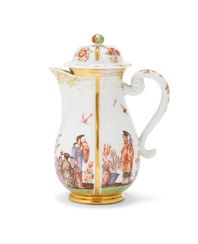 A Meissen hot water jug and cover, circa 1724