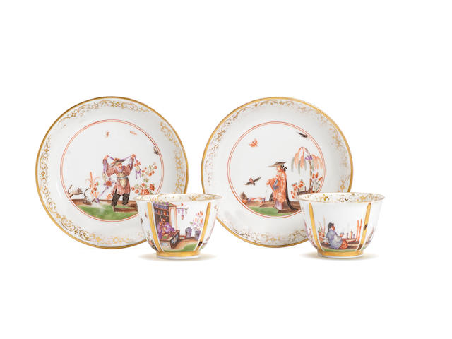 A pair of Meissen teabowls and saucers, circa 1724