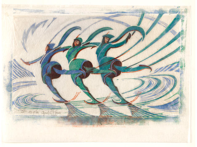 Cyril Edward Power (British, 1872-1951) Skaters Linocut printed in spectrum red, light cobalt blue and viridian, c.1932, on buff oriental laid tissue, signed, titled and numbered 5/60 in pencil, with margins, 198 x 316mm (7 3/4 x 12 3/8in)(B)