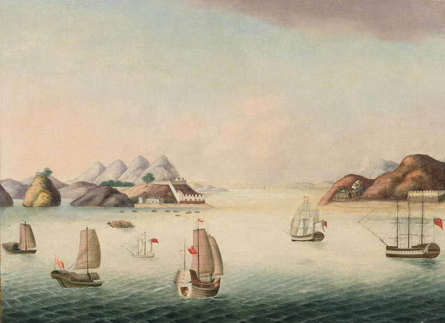 Anglo-Chinese School, 19th Century A View of the Bocca Tigris, the Southern end of the Pearl River leading up to Canton, with three Western ships in the foreground and three Chinese trading junks sailing upriver, one of the Folly Forts visible further up the river
