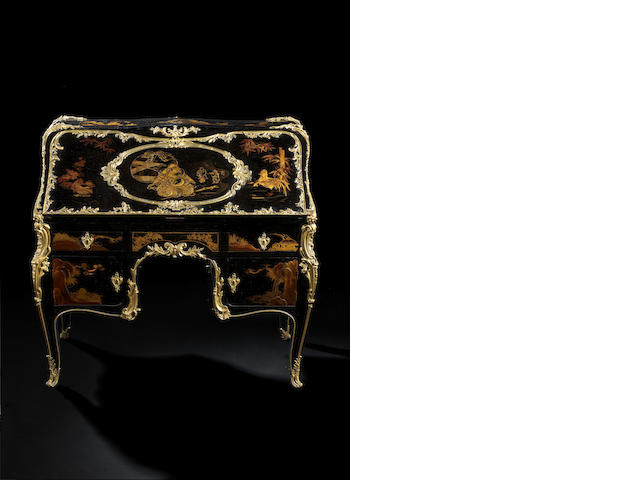 "Important French ormolu-mounted laquered ""bureau secretaire en dos d'ane"" atributed to the Beurdeley."