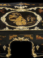 An important French Louis XV ormolu-mounted Japanese black and gold lacquer bureau en pente partly remounted in the second half of the 19th century with mounts by Beurdeley, Paris