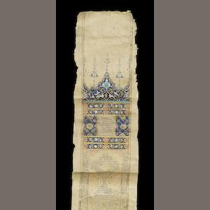 An illuminated Qur'an in scroll form written in ghubari script Probably Ottoman Turkey, 18th Century(2)